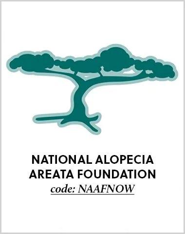 National Alopecia Areata Foundation.  Code N A A F N O W.